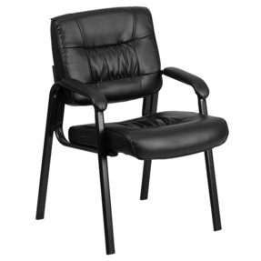 Flash Furniture BT-1404-GG Black Leather Guest/Reception Chair with Black Frame Finish
