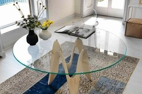"Glass Table Top: 54"" Round, 1/2"" Thick, Beveled Edge, Annealed Glass"