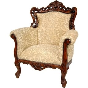 Oriental Furniture Fine Furniture and Home Decor 44-Inch Queen Victoria Wing Chair, Beige Ivy
