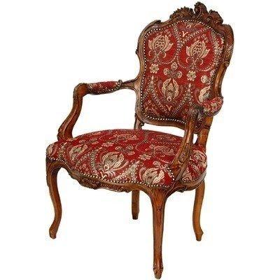 Oriental Furniture Queen Elizabeth Arm Chair, Crimson Fleurs De Lis