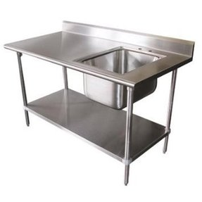 "Prep / Work Table with Sink 72"" X 30"" X 35"", W/5"" Backsplash 18 Gauge Stainless Steel Top *NSF*"