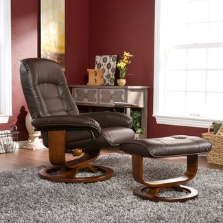 Southern Enterprises Leather Recliner with Side Table and Ottoman