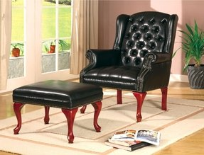 Walterville Wing Chair with Ottoman in Black