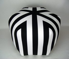 "24"" Floor Ottoman Pouf Pillow, Black White Stripe"