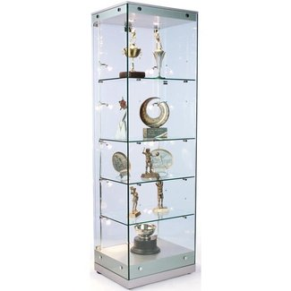 "76""h Glass Curio Cabinet with 5 Height-Adjustable Glass Shelves, Side and Top Lighting, Hinged Door with Security Lock - Silver MDF Canopy and Base"