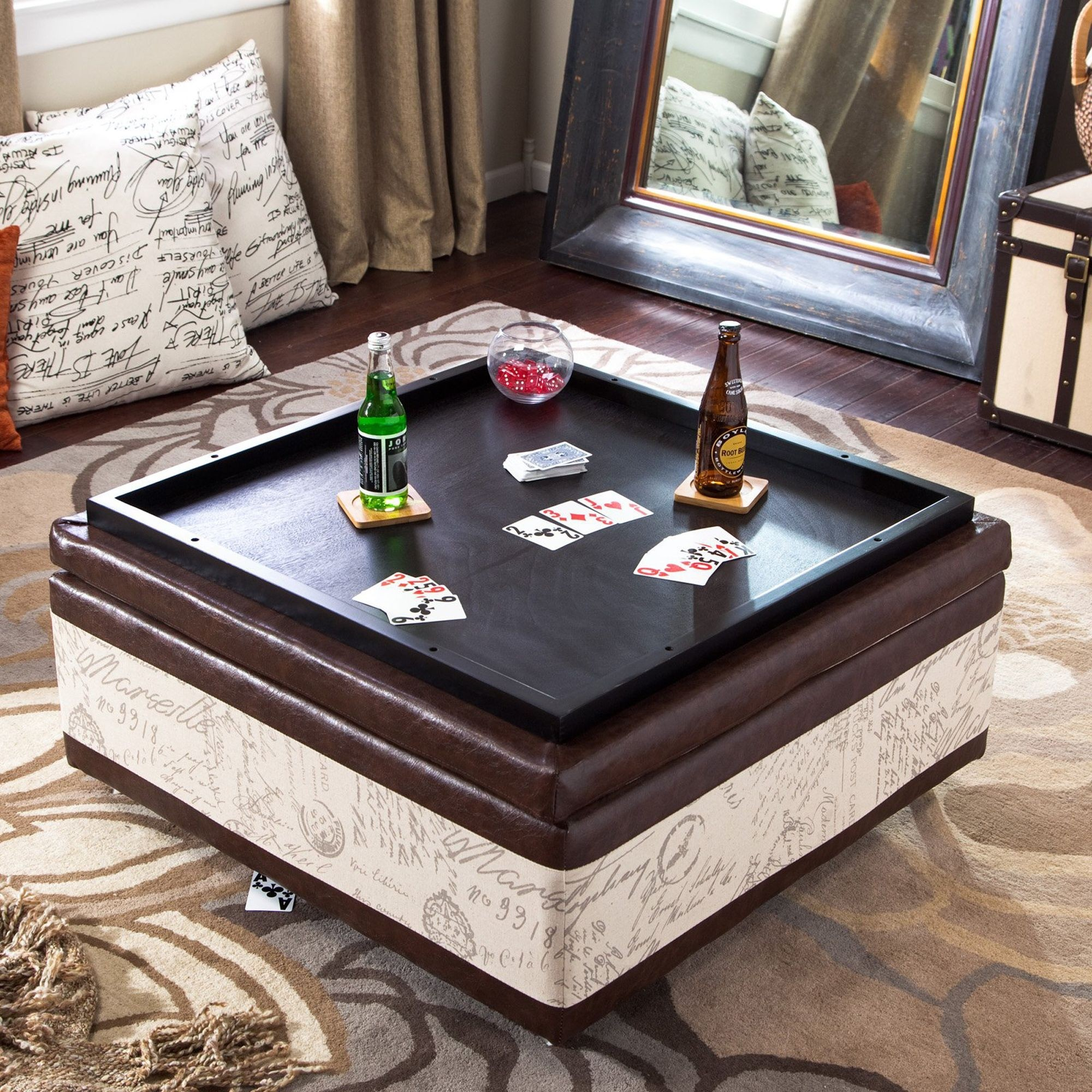 Armen Living Corbett Leather and Linen Coffee Table Storage Ottoman & Coffee Table Ottomans - Foter
