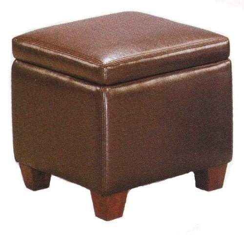 Brown Faux Leather Storage Ottoman Foot Stool Hassock