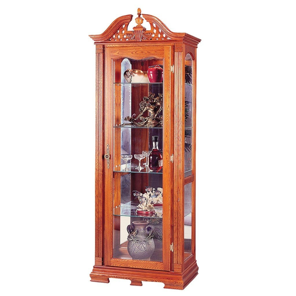 Chippendale Style Solid Oak Wood Curio China Cabinet W/Interior Light