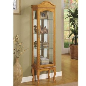 Curio Cabinet with Queen Anne Style Legs in Oak Finish