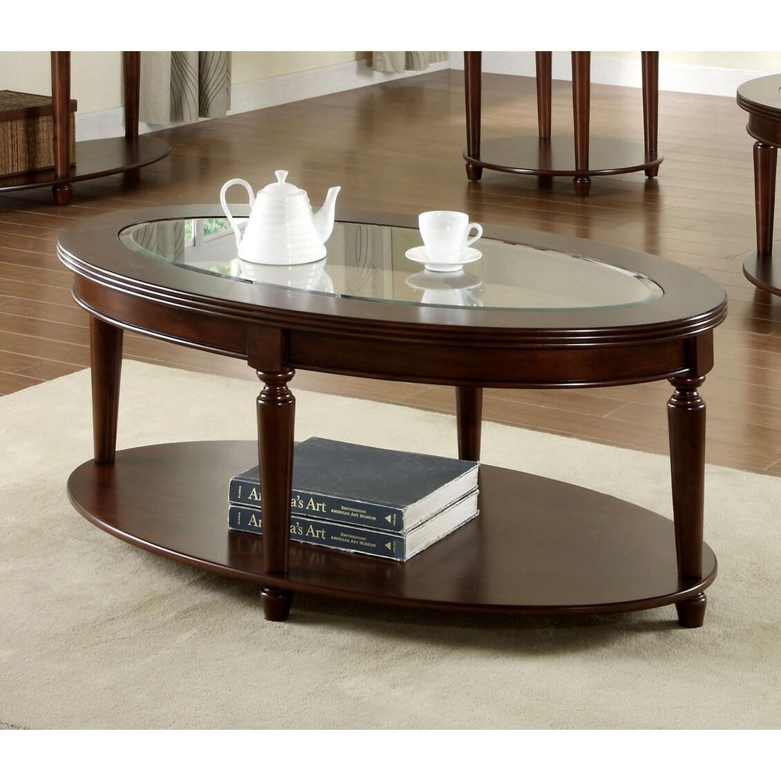 Elisha Dark Cherry Finish English Style Beveled Glass Top Oval Coffee Table
