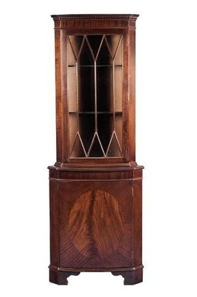 English Antique Style Bow Front Mahogany Corner Cabinet