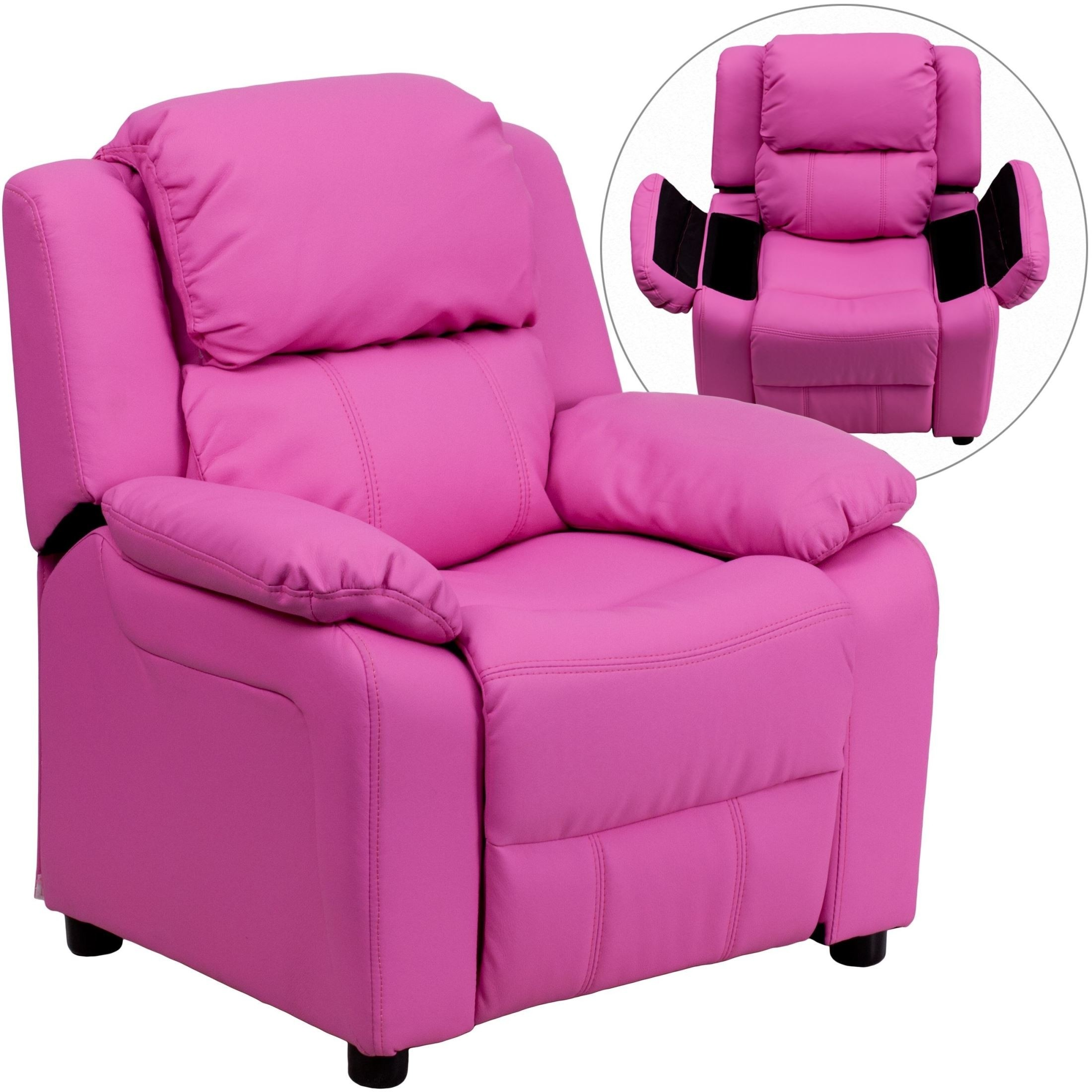Lovely Flash Furniture Deluxe Heavily Padded Contemporary Hot Pink Vinyl Kids  Recliner With Storage Arms [BT