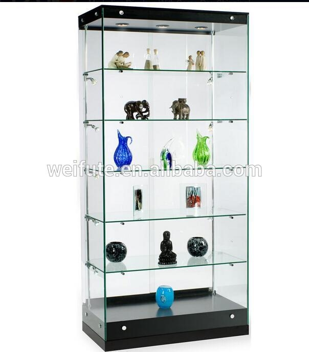 Bon Glass Display Case And Black MDF Base, 36 X 76 X 19 Inch,
