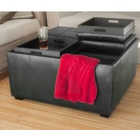 Leather Ottoman With 4 Tray Tops Storage Bench Coffee Table Black Leather New