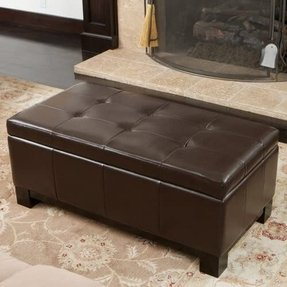 Leather Storage Ottoman with Tufted Top