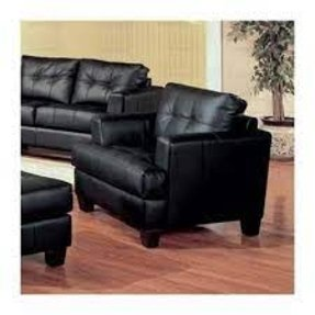 Liam Bonded Leather Chair in Black