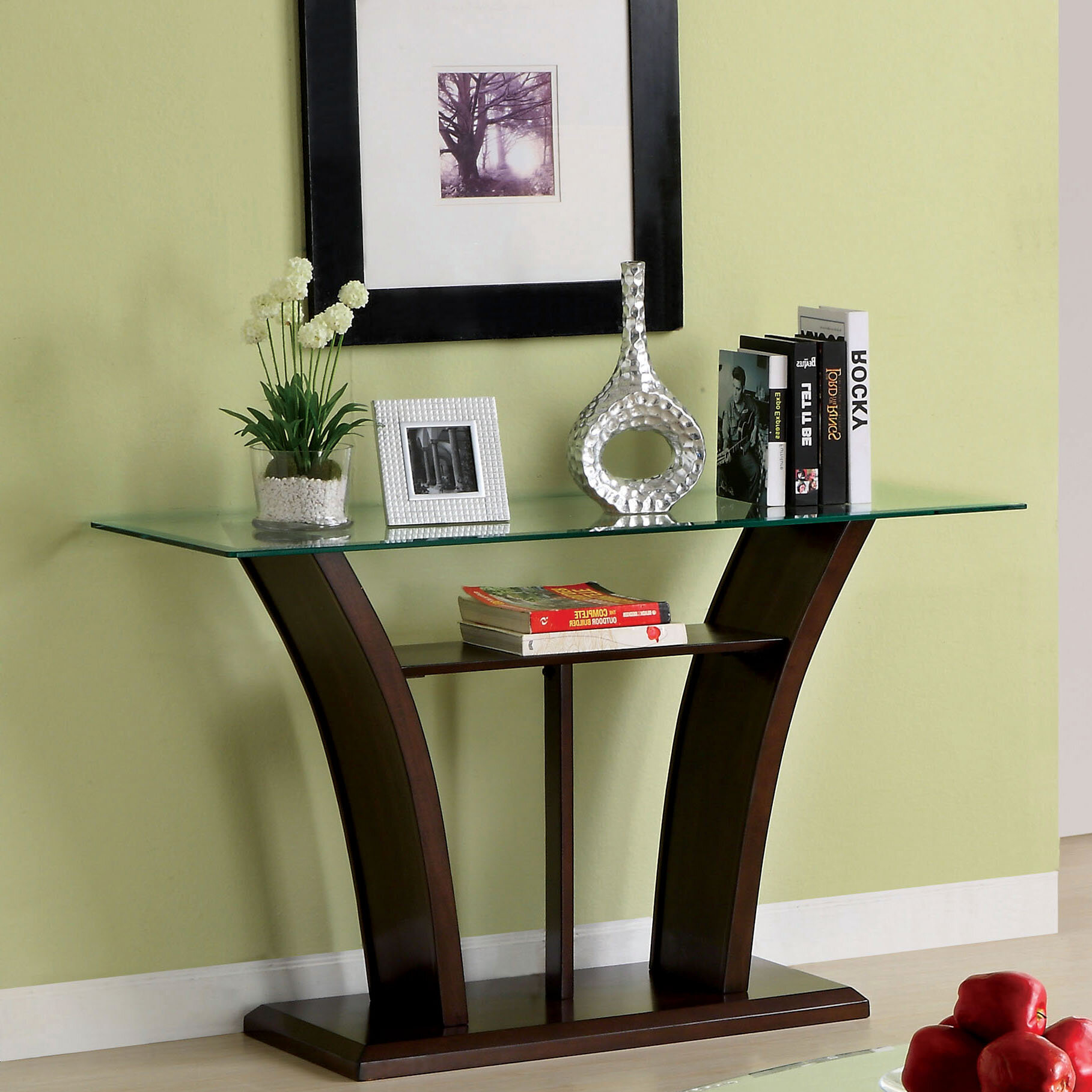 Great Manhattan Dark Cherry Finish Glass Top Console Table