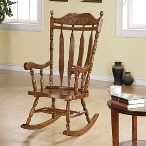 Monarch Specialties High Solid Wood Rocking Chair, 45-Inch, Dark Walnut