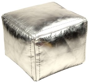 Moroccan Leather Pouf, Silver Square (Stuffed)
