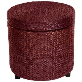Oriental Furniture Most Affordable Low Price End Table, 17-Inch Woven Water Hyacinth Rattan Style Round Lidded Foot Stool Basket, Black