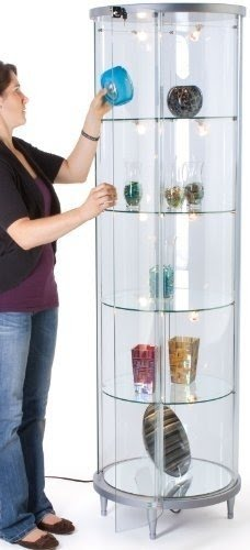 Round Pedestal Glass Display Cabinet With Silver MDF Base, With Hinged  Locking Door, Halogen