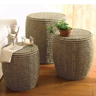 Seagrass Storage Ottomans in Coffee - Set of 3