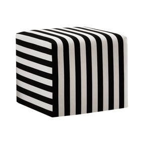 Skyline Furniture Cube Ottoman in Canopy Stripe Black and White