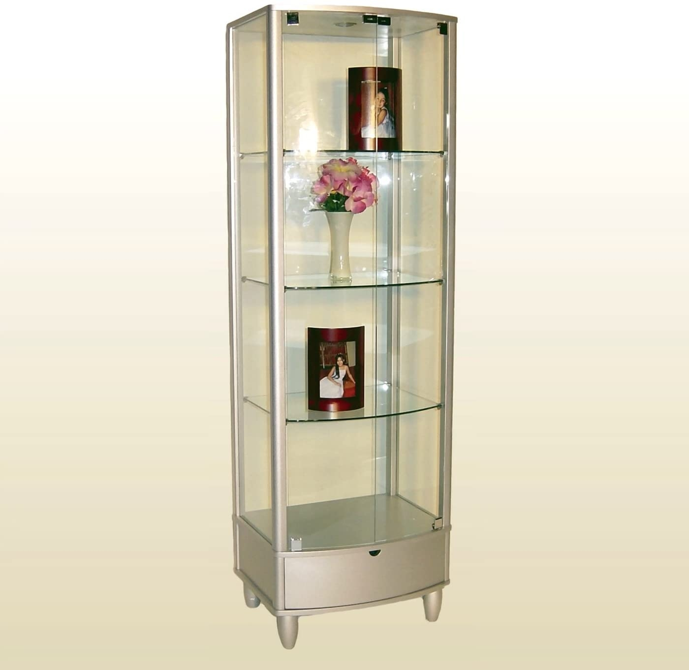 Square Wood U0026 Glass Curio W/ Drawer By Chintaly