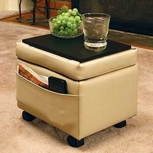 Storage Ottoman With Snack Tray Almond Biege Color