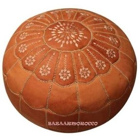 Stuffed Moroccan Leather Footstool Large Pouf Pouffe Ottomans Style Dark Tan
