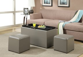 Convenience Concepts 143012 Sheridan Faux Leather Storage Bench with 2 Side Ottomans, Gray