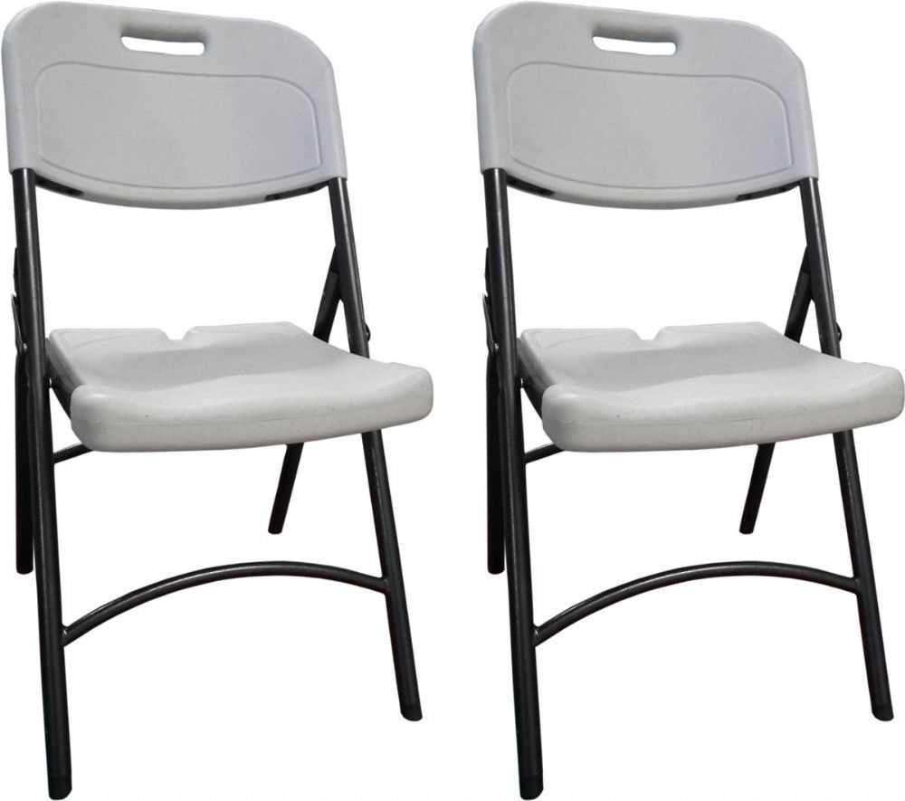 DuraGood Premium Eco Friendly Plastic Folding Chair W/ Carry Handle   White    (