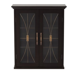 Elegant Home Fashions Stanley Wall Cabinet with 2 Doors, Dark Espresso