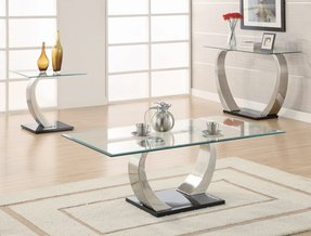 End Table with Glass Top in Silver and Black Metal Base