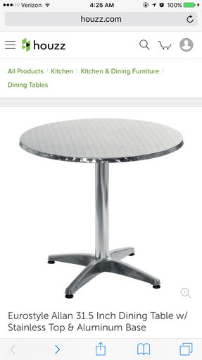 "Euro Style Allan 27.5"" Round Table in Stainless Steel and Aluminum"