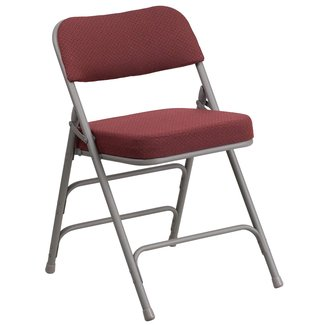 Flash Furniture HA-MC320AF-GRY-GG Hercules Series Premium Curved Triple Braced and Quad Hinged Gray Fabric Upholstered Metal Folding Chair