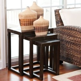 Howard Elliott 1709 Stitched Faux Leather Nesting Tables