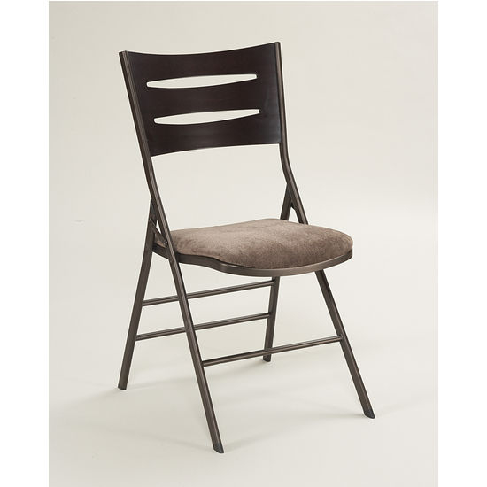 Merveilleux Meco Destiny Folding Chair, Cinnabar Metal Frame, Chocolotto Wood 3 Slat  Back And