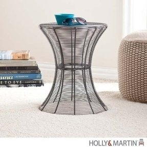 Metal Spiral Accent Table - Silver