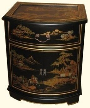 "Oriental End Table in Mahogany with glass top and luxuriously soft felt lined drawer -24"" H."