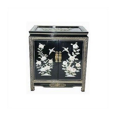Oriental Furniture Asian Furniture And Decor 22 Inch Chinese Birds And  Flowers Black Lacquer End