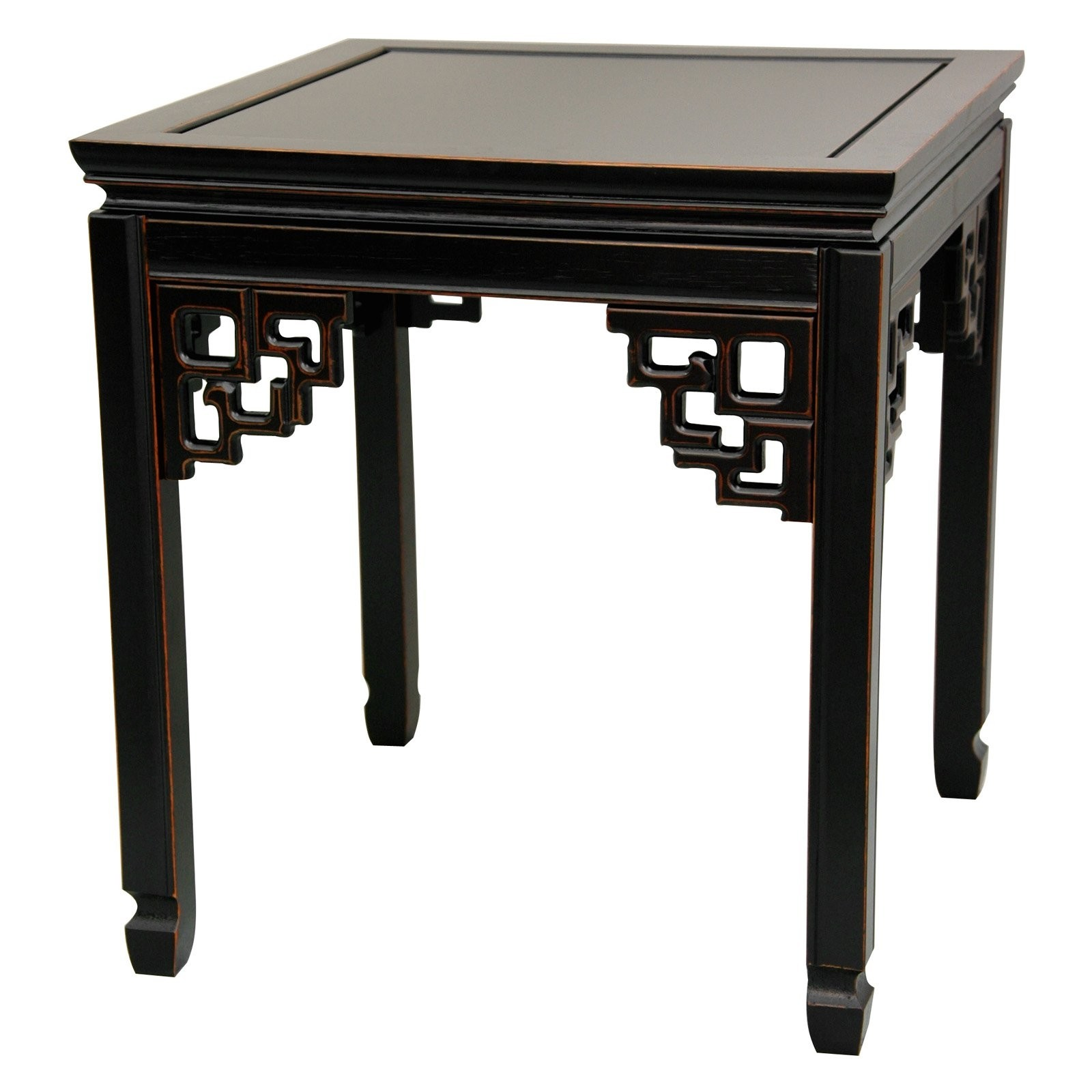 Oriental Furniture Beautiful End Table, 22 Inch Chinese Design Rosewood  Ming Table, Antiqued