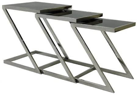 Plutus Stainless Steel Nesting End Table with Glass Top Set of 3  sc 1 st  Foter & Stainless Steel Nesting Tables - Foter