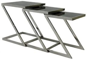 Plutus Stainless Steel Nesting End Table with Glass Top, Set of 3