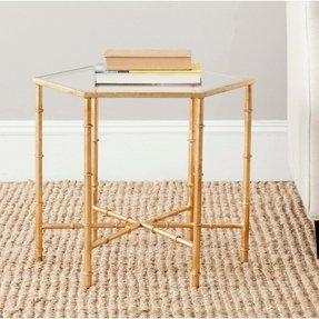 Safavieh Kerri Iron and Glass Accent Table in Gold