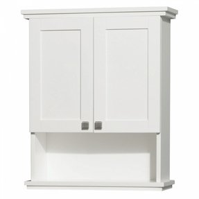wyndham collection wcv8000wcwh acclaim wall mount bathroom cabinet with brushed chrome hardware white - Wall Mounted Bathroom Cabinet