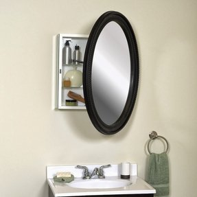 "Zenith Products BMV2532BB Oval Mirror 25"" x 32"" Medicine Cabinet, Oil Rubbed Bronze"