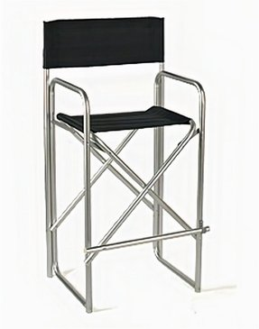 "47"" Tall Director's Chair with Black Canvas Back and Seat, Includes Foot Rest, Portable Chair Holds up to 350lbs. - Satin Silver Aluminum"