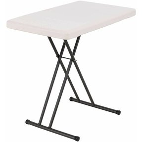 FineDine Personal Table with 30-by-20-Inch Molded Top, White
