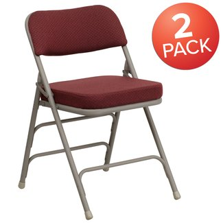 Flash Furniture 2-Pack Hercules Series Upholstered Metal Folding Chair with Curved Burgundy Fabric